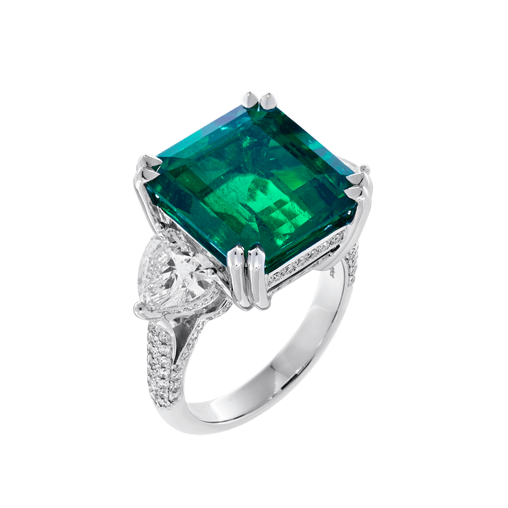 emerald jewellery ring green grs unheated zambia tw vivid natural diamond carat ct certified